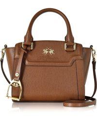 La Martina - La Portena Alejandra Cognac Saffiano Leather Mini Tote - Lyst