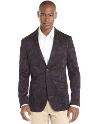 Etro Navy Floral Cotton Blend 2-button Jacket - Lyst