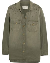 Current/Elliott The Perfect Studded Cotton Shirt - Lyst