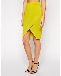 Asos  Pencil Skirt with Wrap Front - Lyst
