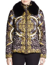 Versace Scarf-Print Fur-Trimmed Puffer Jacket - Lyst