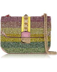Valentino Glam Lock Small Swarovski Crystal-Embellished Leather Shoulder Bag - Lyst