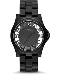 Marc By Marc Jacobs 41mm Henry Skeleton Crystal Watch Black - Lyst