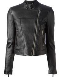 Michael by Michael Kors Cropped Biker Jacket - Lyst