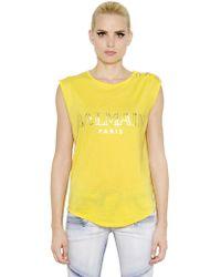 Balmain Logo Printed Cotton T-Shirt - Lyst