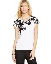 Inc International Concepts Cap-Sleeve Floral-Appliqué Sweater - Lyst