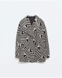 Zara Printed Short Coat With Lapels - Lyst
