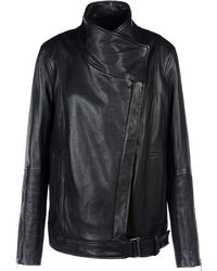 Helmut Lang Black Leather Outerwear - Lyst