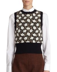 Marni Mix Punti Floral Jacquard Sleeveless Sweater black - Lyst