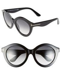 Tom Ford Women'S 'Chiara' 55Mm Sunglasses - Shiny Black/ Gold/ Gradient - Lyst