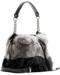 Jimmy Choo Evie Fur and Leather Drawstring Bag - Lyst