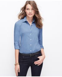 Ann Taylor Chambray Perfect Shirt - Lyst