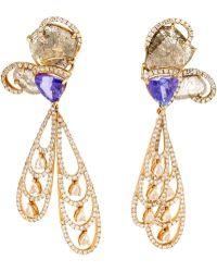 Saqqara - 18k Yellow Gold Diamond Dragonfly Earrings - Lyst