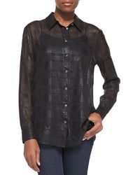 Equipment Reese Semisheer Plaid Blouse True Black Medium6 - Lyst