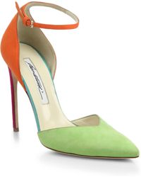 Brian Atwood Lisette Colorblock Suede Sandals - Lyst
