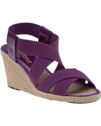 Andre Assous Dalmira-Mid Wedge Espadrille Purple Fabric - Lyst