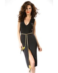 Savee Couture Bodycon Dress With Feather Belt - Lyst