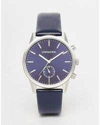 Unknown - Engineered Leather Watch In Black - Lyst