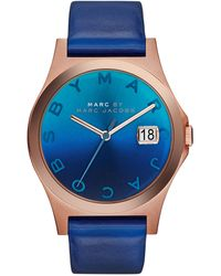 Marc By Marc Jacobs 36mm The Slim Watch with Leather Band Blue - Lyst