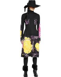 Yohji Yamamoto Wool & Printed Wool Gabardine Dress - Lyst