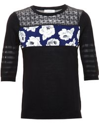 Nina Ricci Knit Top With Lace And Silk Panels - Lyst