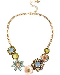 Betsey Johnson Queen Bee Gold-Tone Floral Frontal Necklace - Lyst