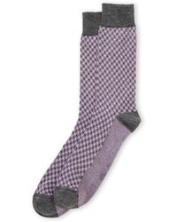 Robert Talbott Diamond Check Crew Socks - Gray