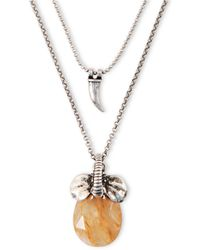 Lucky Brand - Silvertone Layered Necklace With Elephant Pendant - Lyst