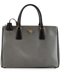 Prada Saffiano Lux Bicolor Doublezip Tote Bag - Lyst