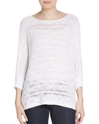 Eileen Fisher Open-stitch Organic Cotton Pullover - Lyst