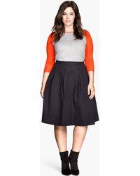 H&M Black Crinkled Skirt - Lyst