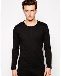 Selected Black Grandad Long Sleeve Top - Lyst