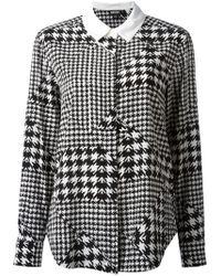Donna Karan New York Houndstooth Printed Shirt - Lyst