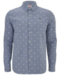 Lacoste L!ive - Men's Long Sleeve Triangle Print Shirt - Lyst