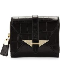 Elaine Turner - Envelope Crocleather French Wallet - Lyst