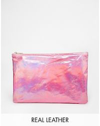 American Apparel Iridescent Leather Clutch pink - Lyst