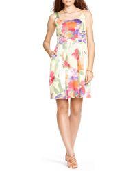Ralph Lauren Lauren Dress - Floral Sateen - Lyst