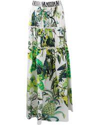 Roberto Cavalli Silk Tiered Maxi Skirt - Lyst
