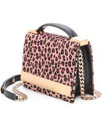 B Brian Atwood Ava Haircalf Top Handle Clutch Pink Blush - Lyst
