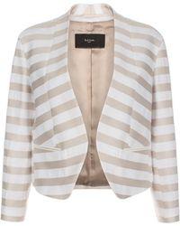 Paul Smith Neutral Stripe Collarless Cotton Jacket - Lyst