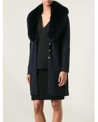 Versace Faux Fur Collar Cardigan - Lyst