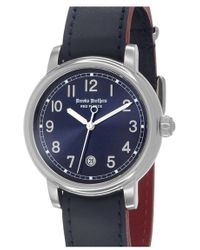 Brooks Brothers - 'red Fleece' Leather Strap Watch - Lyst