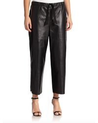 Nina Ricci Leather  Knit Cropped Drawstring Pants - Lyst