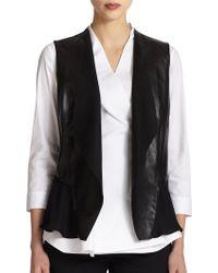 Lafayette 148 New York Leather & Silk Vest - Lyst