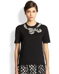 Marc Jacobs Jeweled Bow Sweater - Lyst