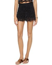 Nightcap - Daisy Crochet Flare Shorts - Black - Lyst