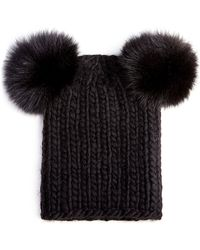 Eugenia Kim Mimi Knit Hat with Fur Pompoms - Lyst