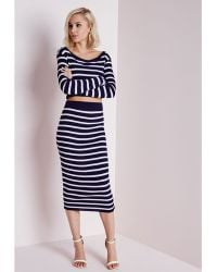 Missguided Striped Ribbed Knitted Midi Skirt Navy - Lyst
