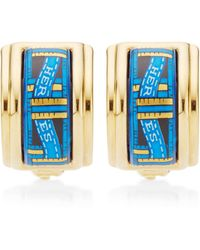 What Goes Around Comes Around Hermes Blue and Gold Ribbon Motif Enamel Earrings - Lyst