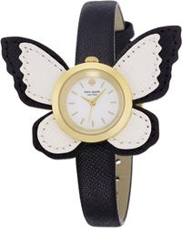 Kate Spade Novelty Metro Butterfly Wing Enamel, Goldtone Stainless Steel & Saffiano Leather Strap Watch gold - Lyst